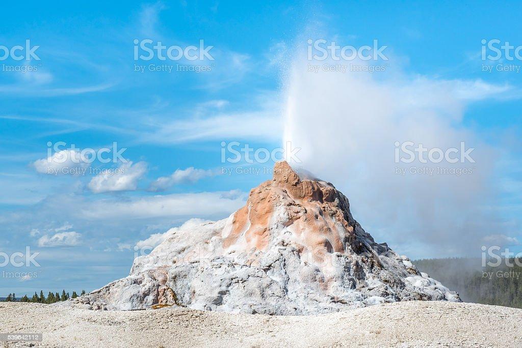 White Dome Geyser Eruption Yellowstone stock photo