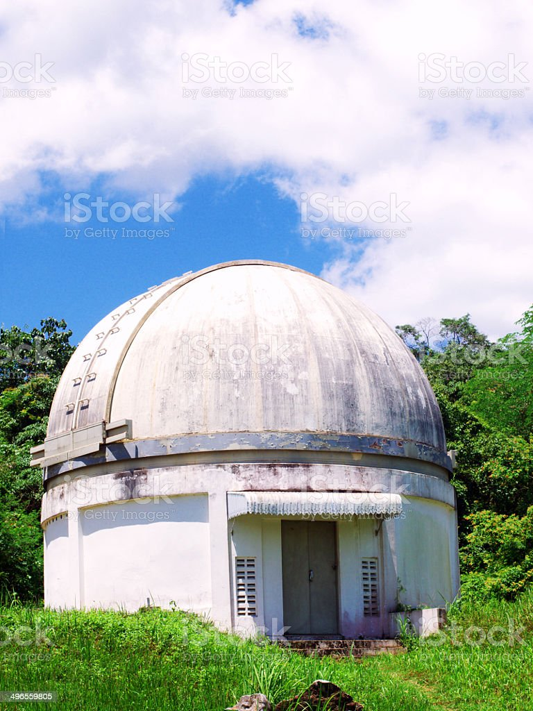 White dome of the Palomar telescope stock photo