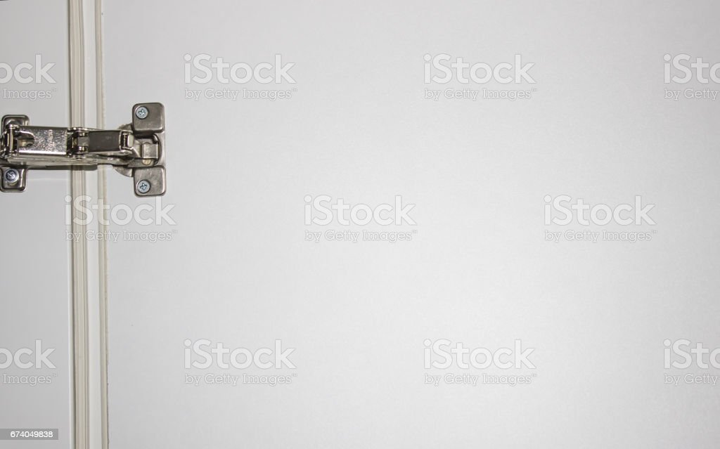 White door and door hinge as background stock photo