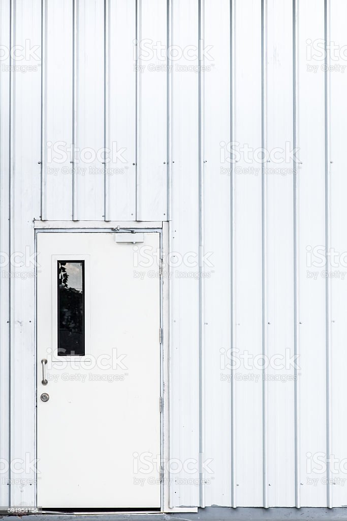 white door, industry door, exit safety door. stock photo