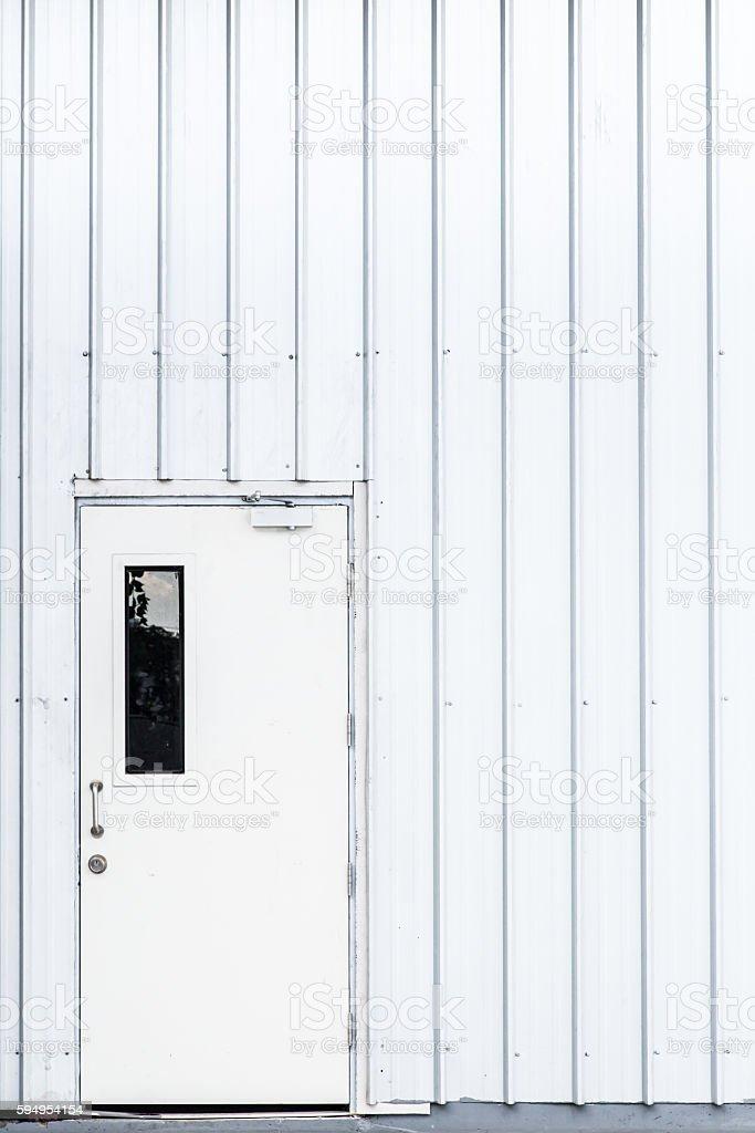 white door, industry door, exit safety door. stock photo