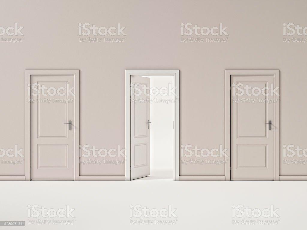 White Door on Beige Wall, Illustration Business Door stock photo