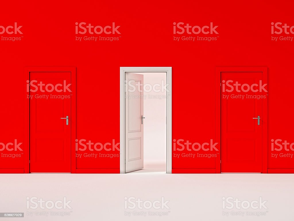 White Door on Red Wall, Illustration Business Door stock photo