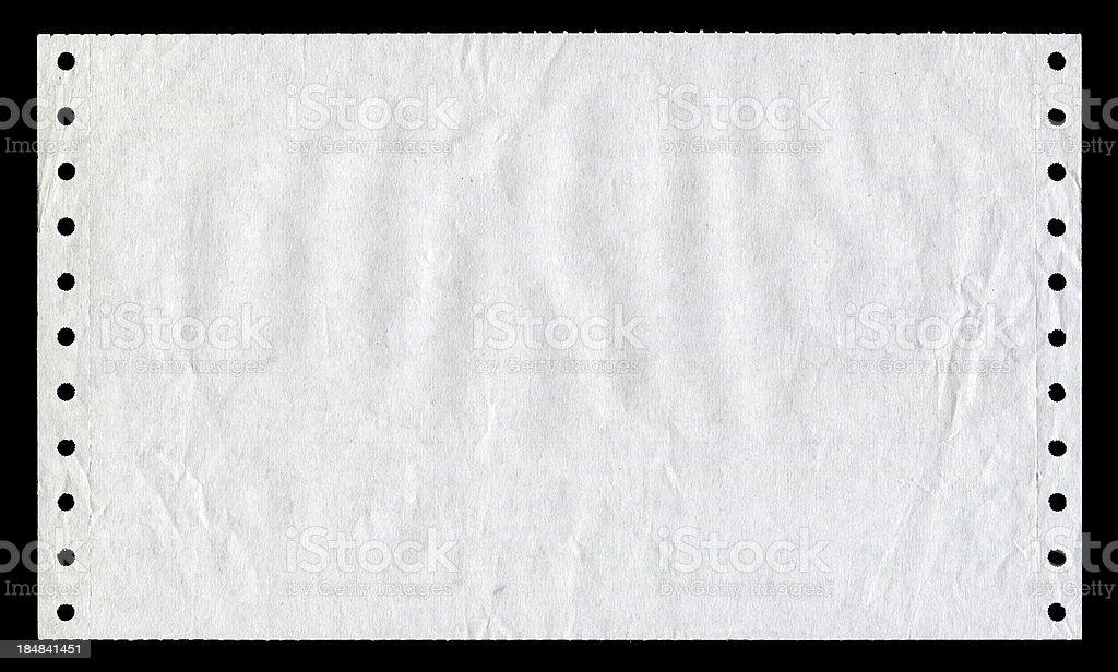 White dot matrix printer paper textured isolated on black background stock photo