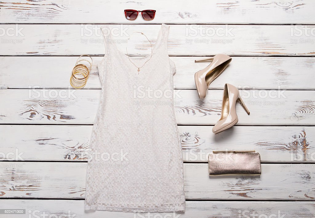 White dress and sunglasses. stock photo