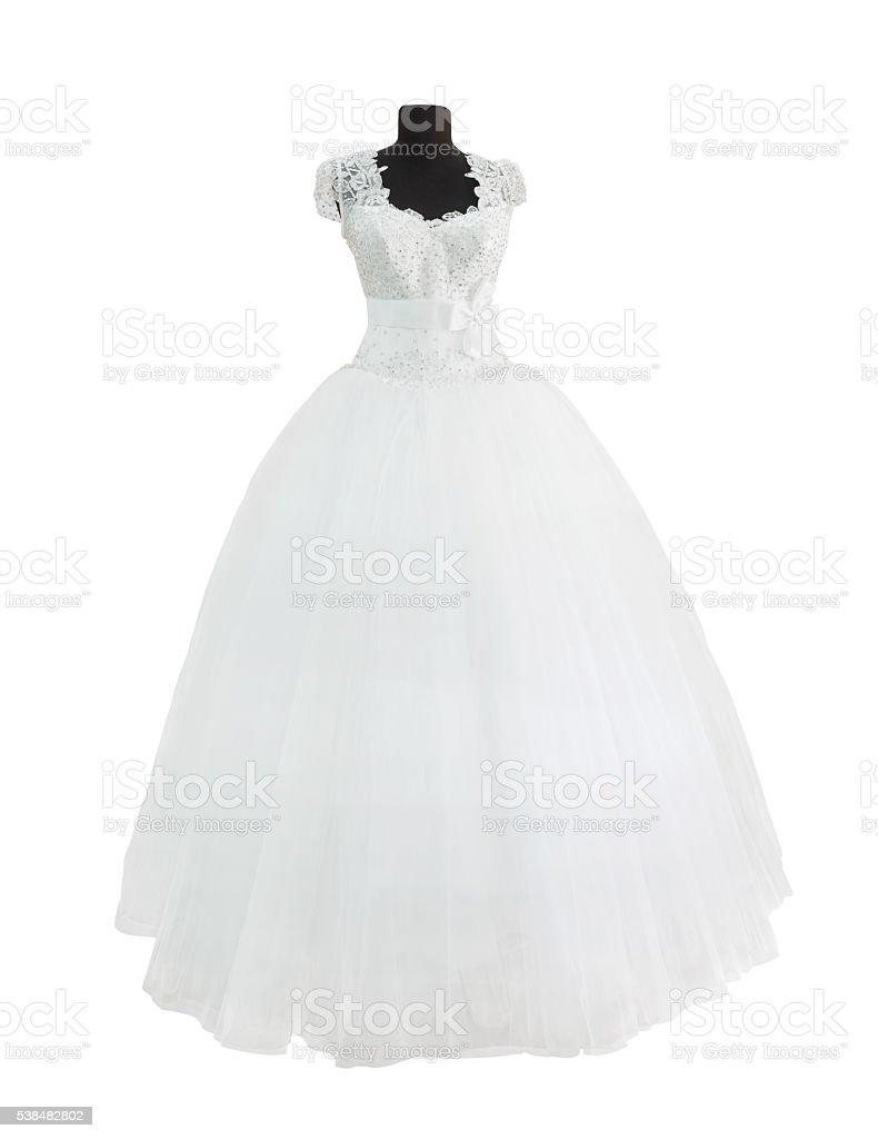White dress isolated on white stock photo