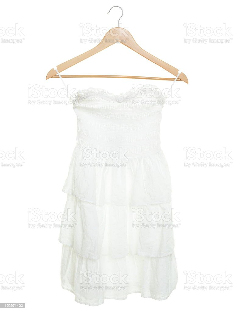 White dress on hanger isolated royalty-free stock photo