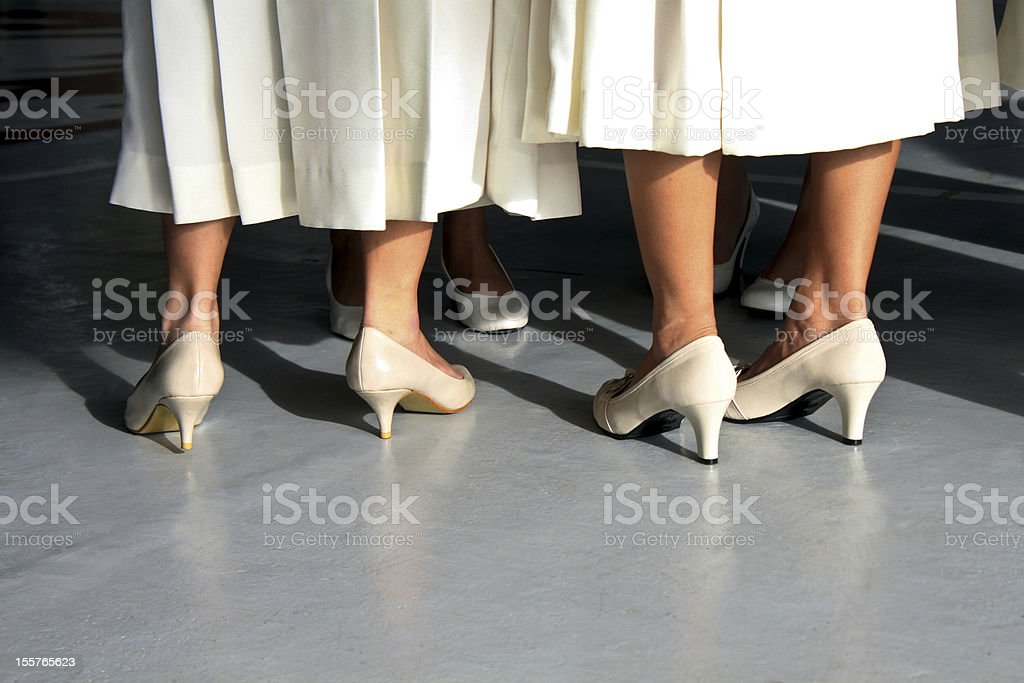 White Dresses and Shoes stock photo