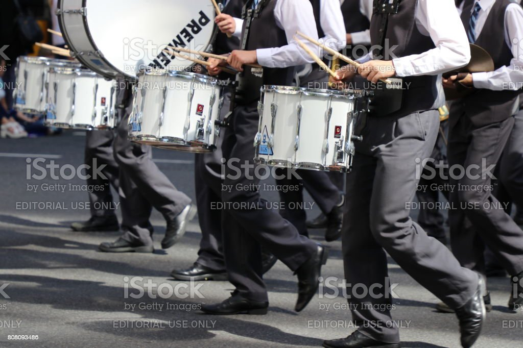 White drums in march stock photo