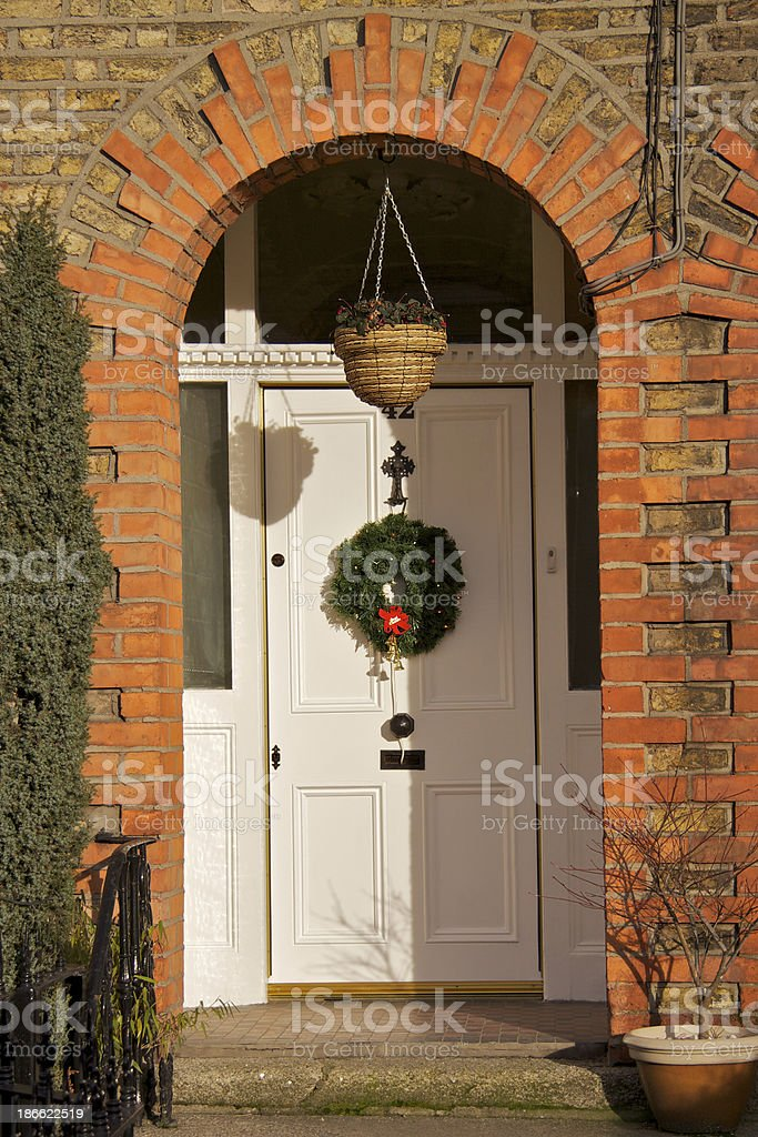 White Dublin door at Christmas royalty-free stock photo