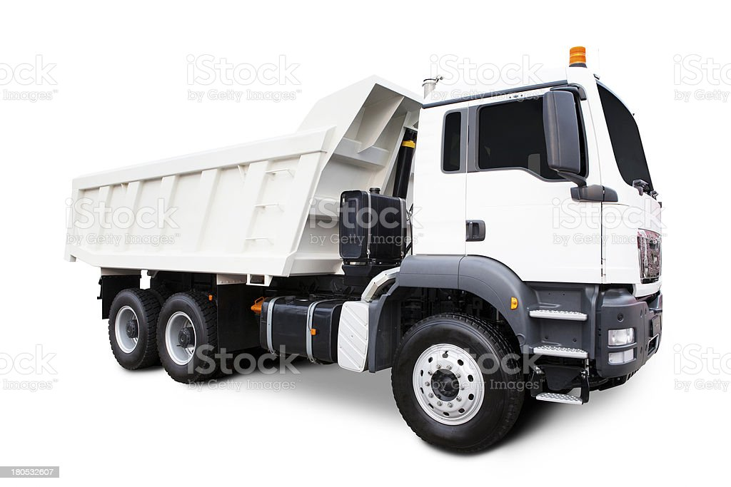 White Dump Truck stock photo
