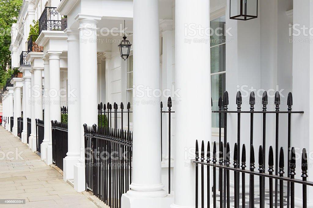 White edwardian houses in West London stock photo