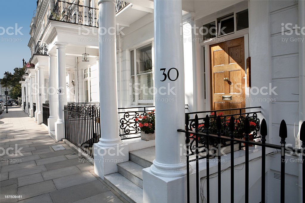 White Edwardian Houses, West London stock photo