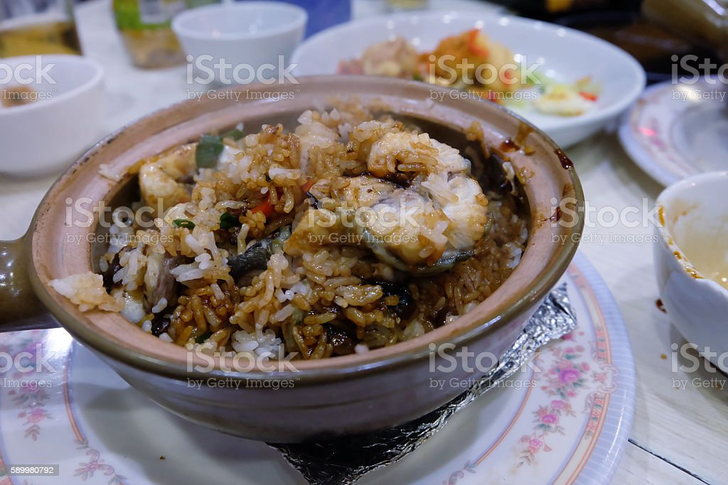 white eel claypot rice chinese style food in hong kong stock photo
