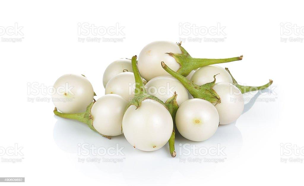 Biały bakłażan na białym tle zbiór zdjęć royalty-free