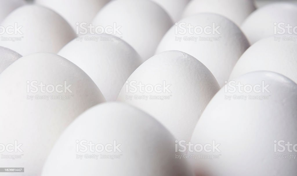 White eggs arranged in pattern royalty-free stock photo