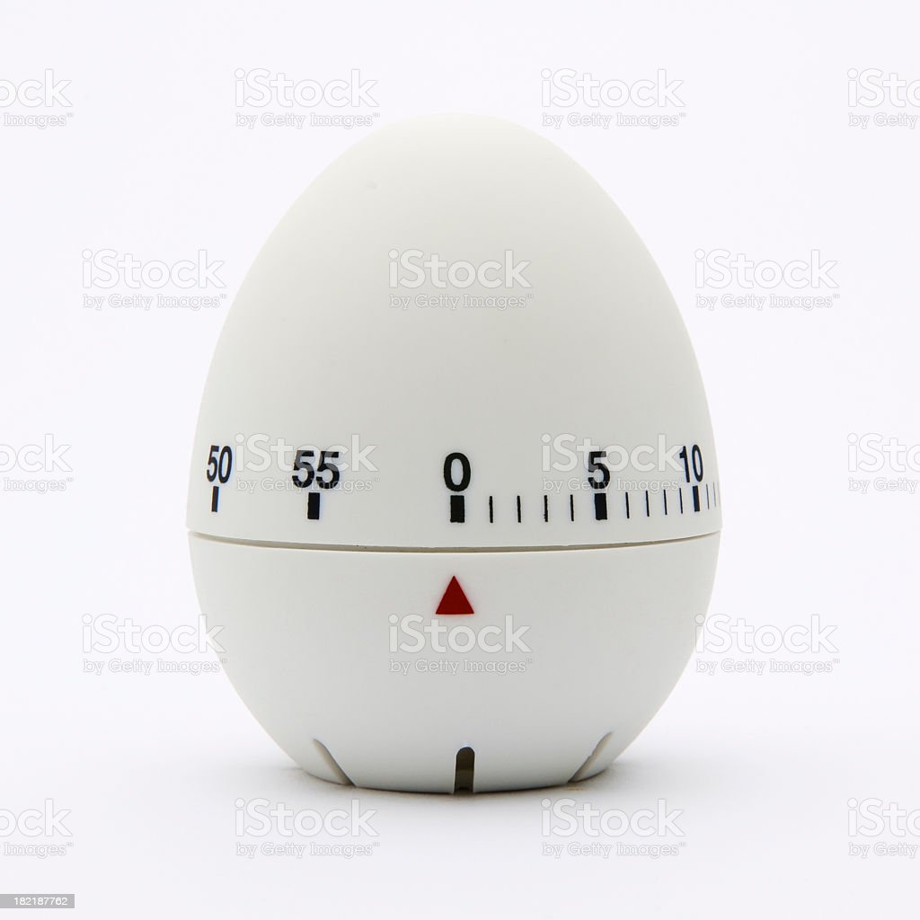 White egg-shaped kitchen timer isolated on white background royalty-free stock photo