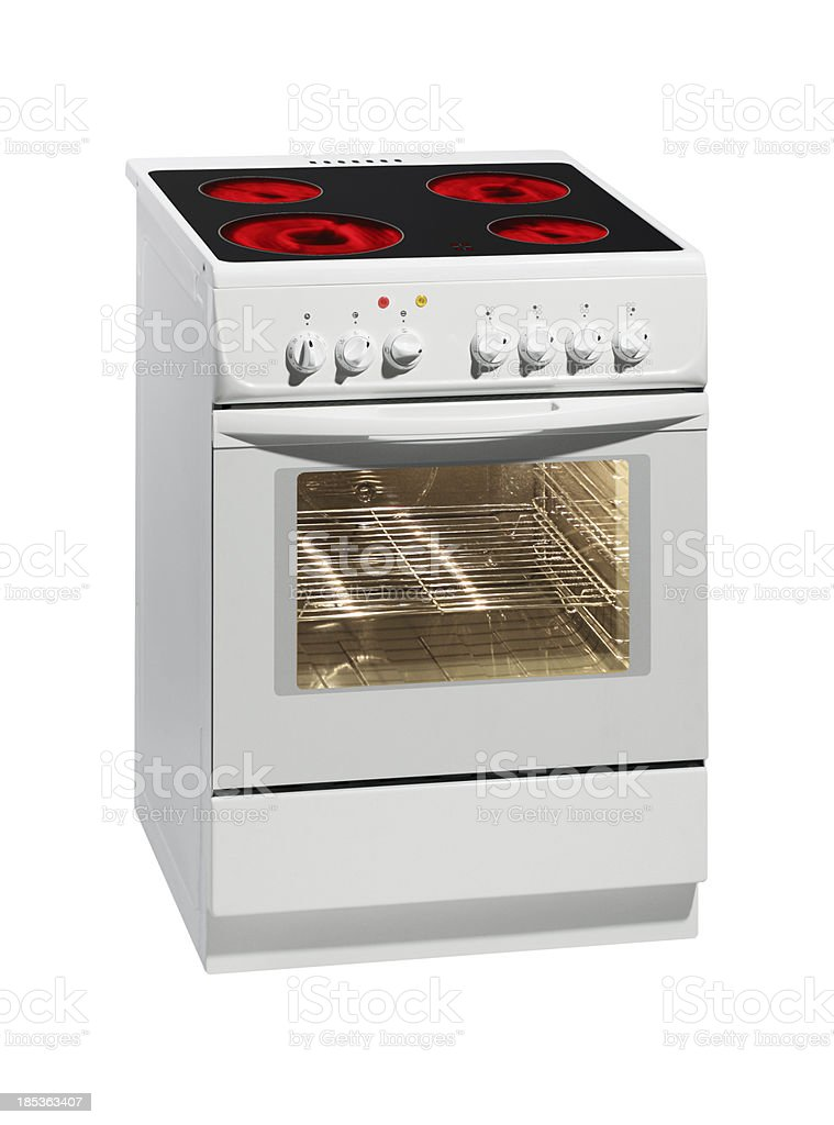 White electric stove with oven. royalty-free stock photo