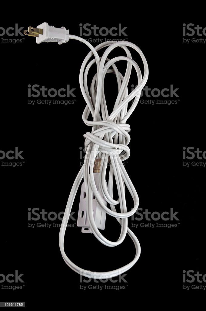 White Electrical Cord on Black royalty-free stock photo