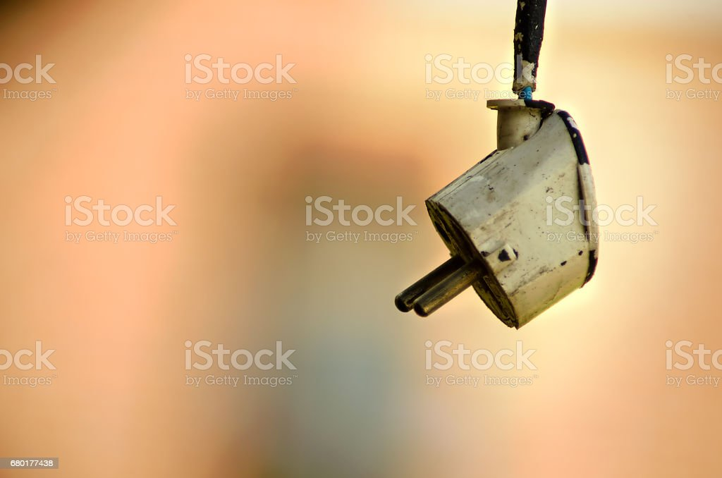 White electrical plug and electrical cord stock photo