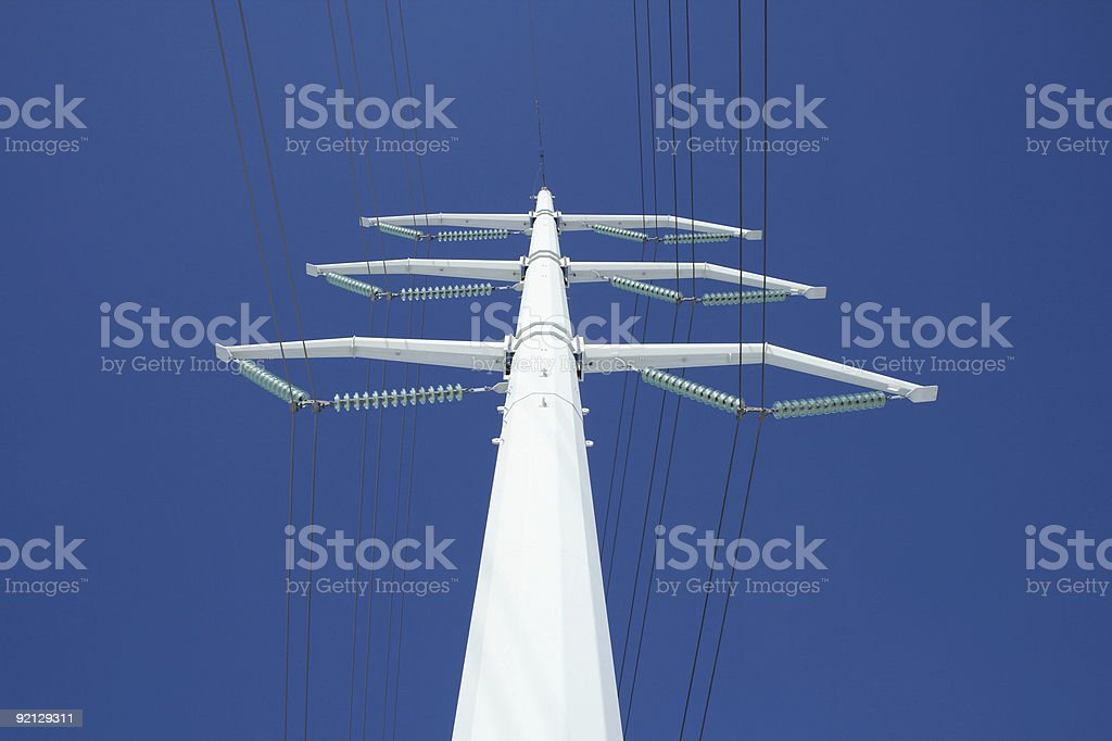 White electricity pylon and the blue sky royalty-free stock photo