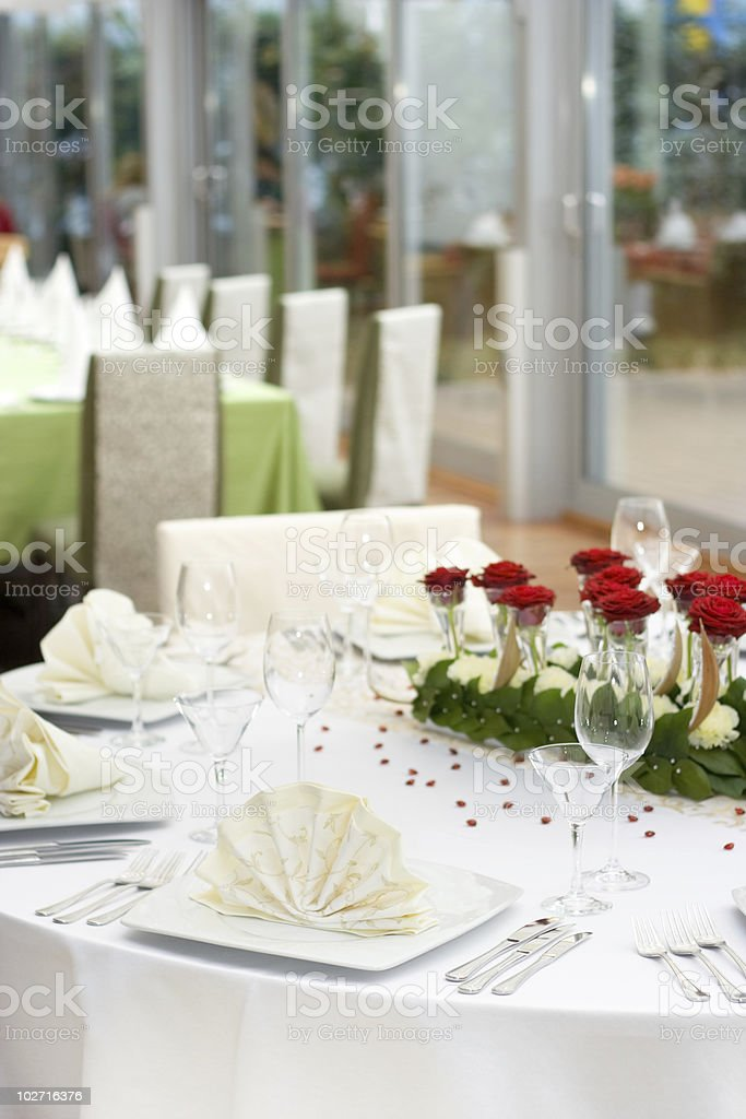 White Elegant Table Set for Dinner royalty-free stock photo