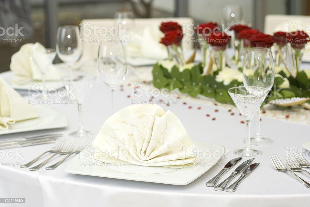 White Elegant Table Set for Dinner royalty-free stock photo