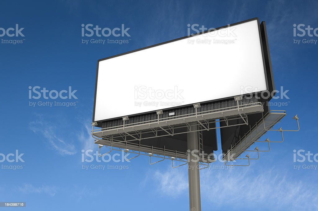 White empty billboard on a large pole royalty-free stock photo