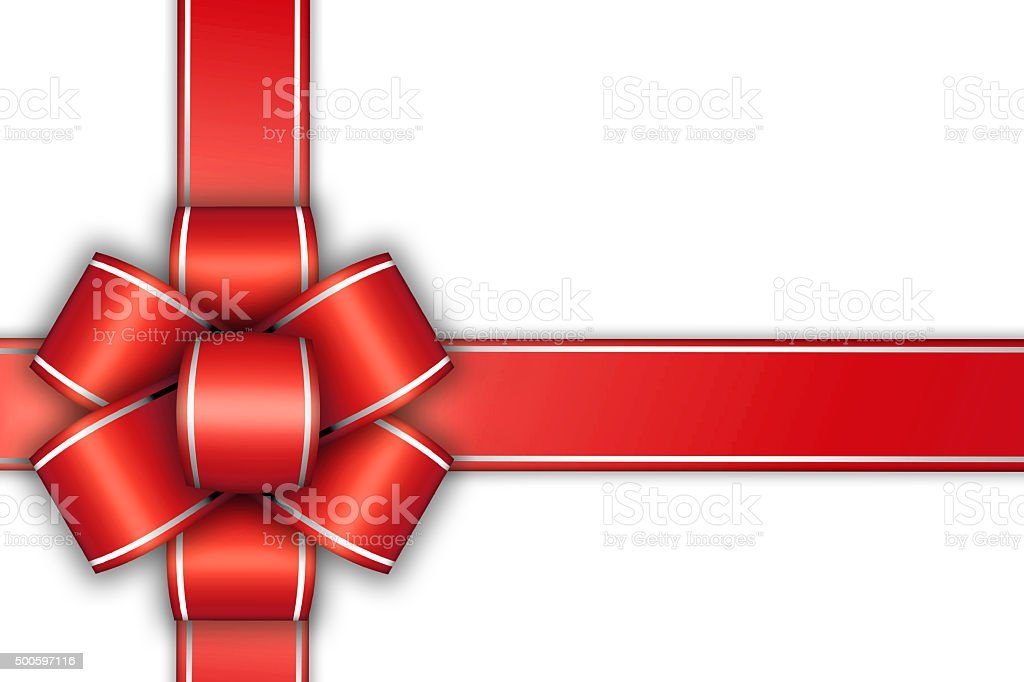 white empty card with red bow stock photo