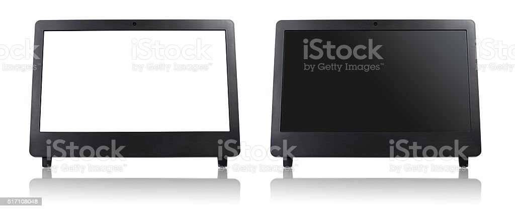 White empty computer screen of modern desktop stock photo