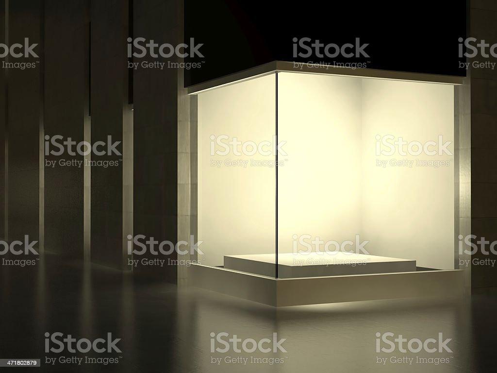 White Empty glass showcase, exhibition space on street stock photo