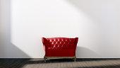 White empty interior with retro red sofa.