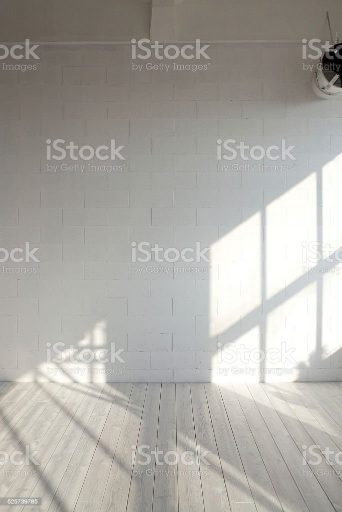 White empty loft interior with window shadow stock photo