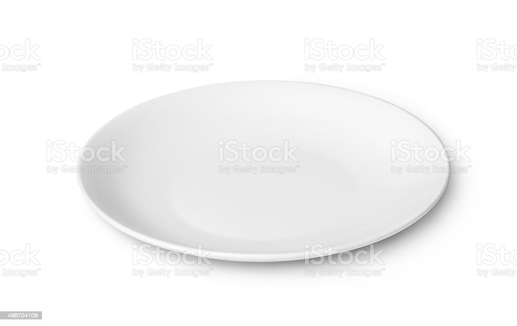 White empty plate isolated on white background stock photo