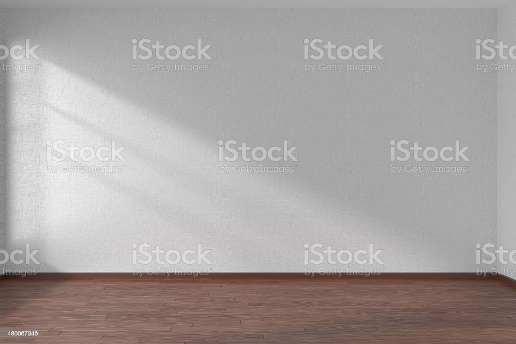 White empty room with dark parquet floor stock photo