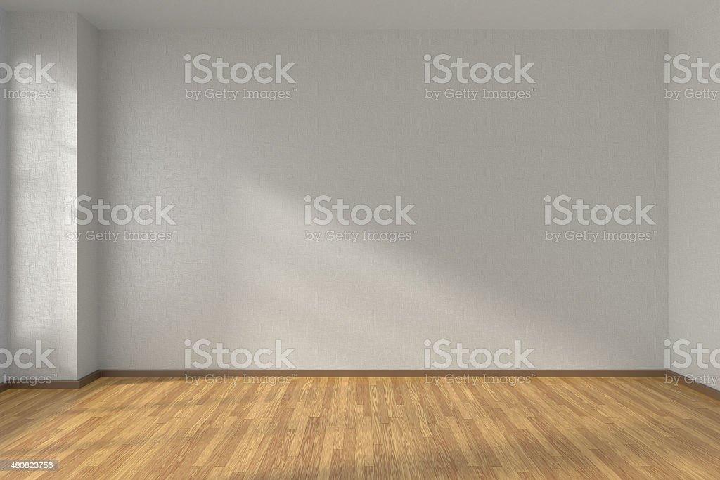 White empty room with parquet floor stock photo
