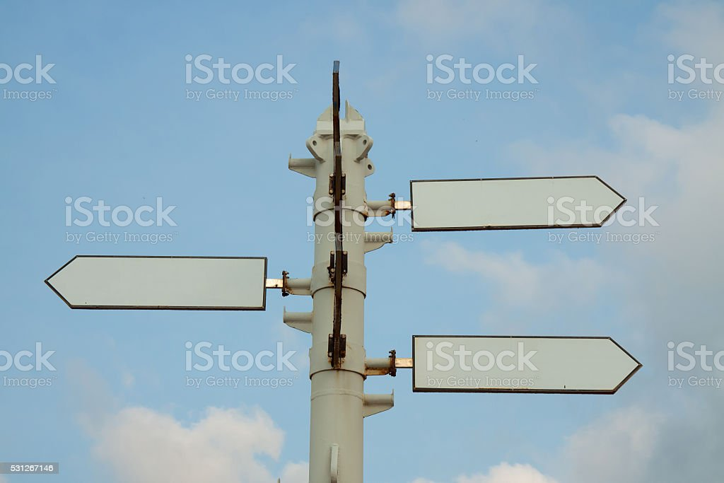 White empty staff with blue sky background royalty-free stock photo