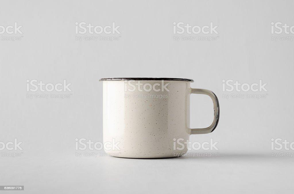 White Enamel Mug Mock-Up stock photo