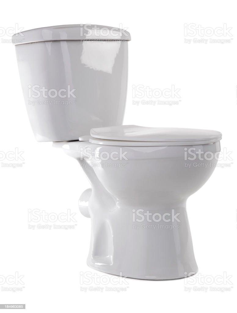 White enamel toilet on a white background stock photo
