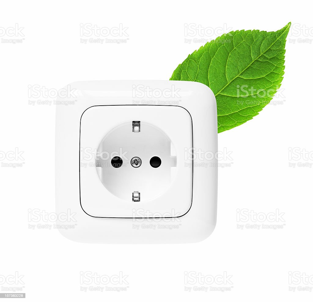 A white energy icon and a green leaf stock photo