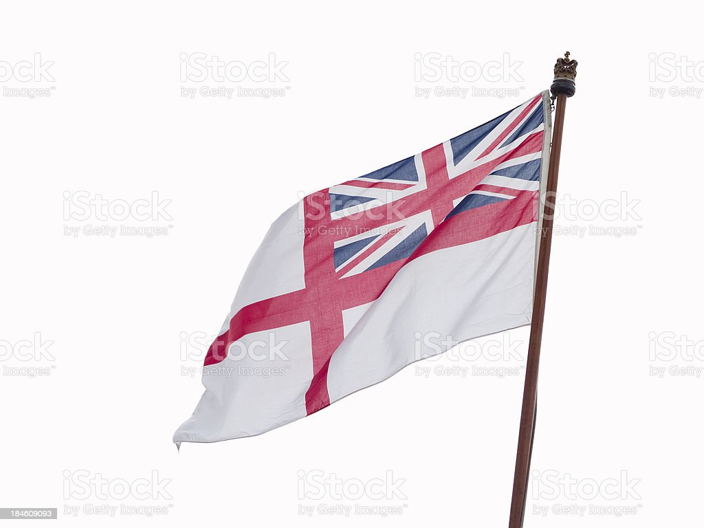 White Ensign British navy flag on flagpole isolated on white royalty-free stock photo