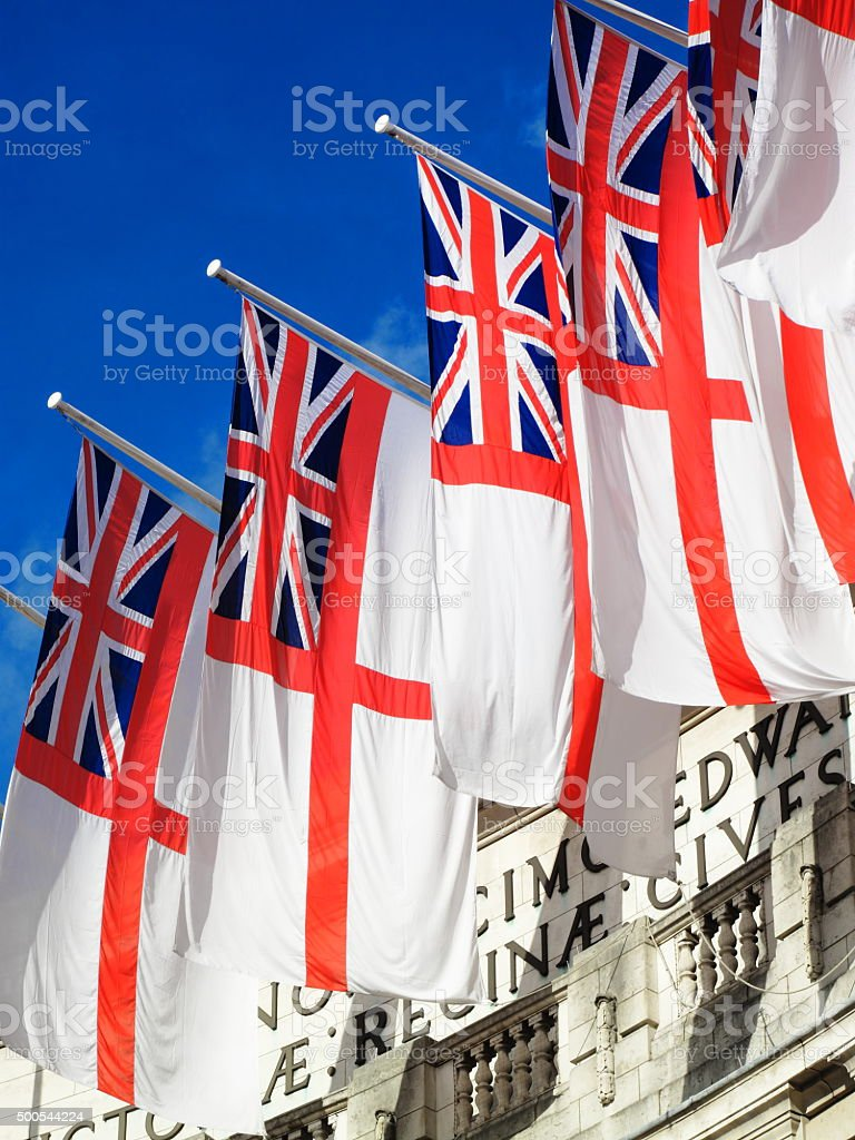 White Ensigns at Admiralty Arch stock photo