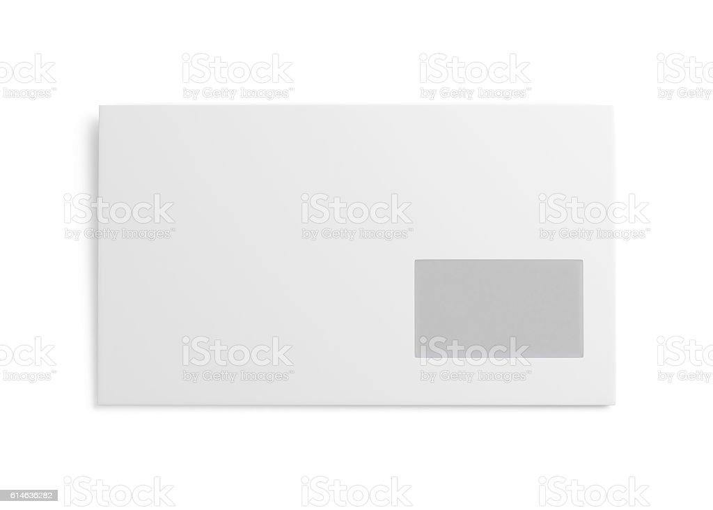 White envelope isolated on white background. 3d rendering stock photo