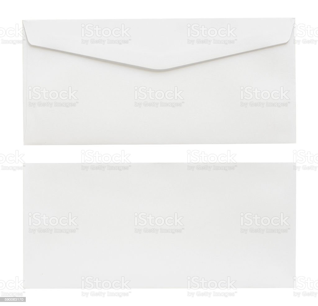 white envelope isolated on white background with Clipping Paths stock photo