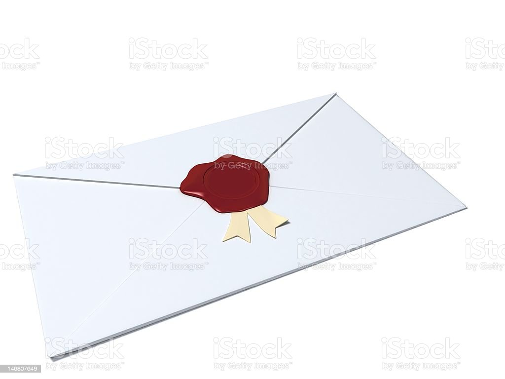 white envelope sealed with wax seal stock photo