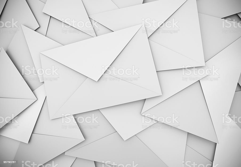 White envelopes background stock photo