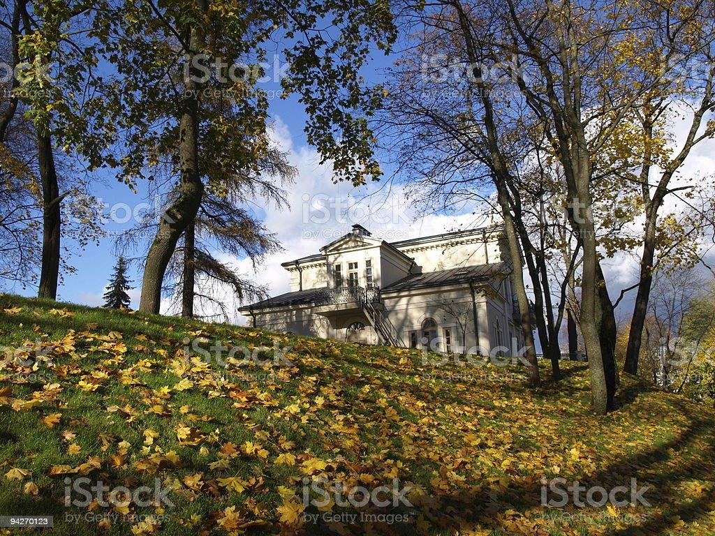 White estate in autumn stock photo