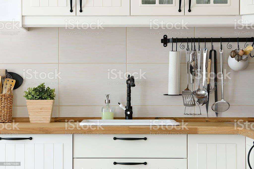 White European style kitchen stock photo