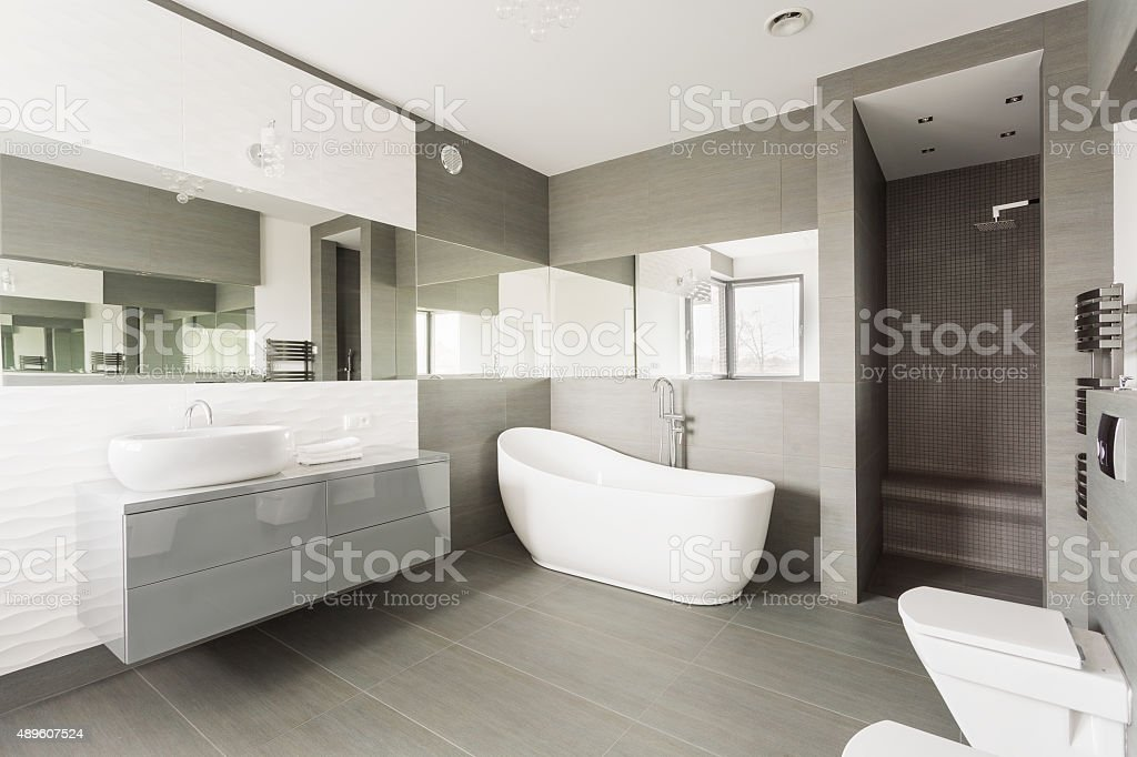 White exclusive washroom stock photo