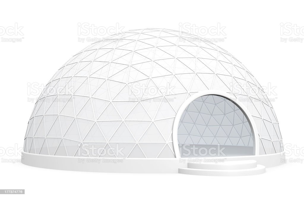 White exhibition dome tent on a white background stock photo